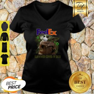 Official Baby Yoda FedEx Survived Covid 19 2020 V-Neck