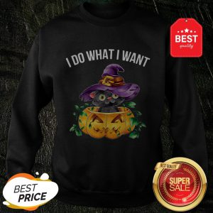 Official I Do What I Want Halloween Kitten Cat Witch Sweatshirt