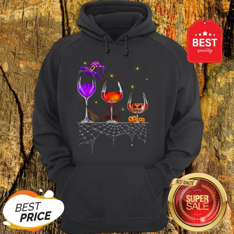 Funny Wine Glass Of Witchcraft Halloween Vintage Hoodie