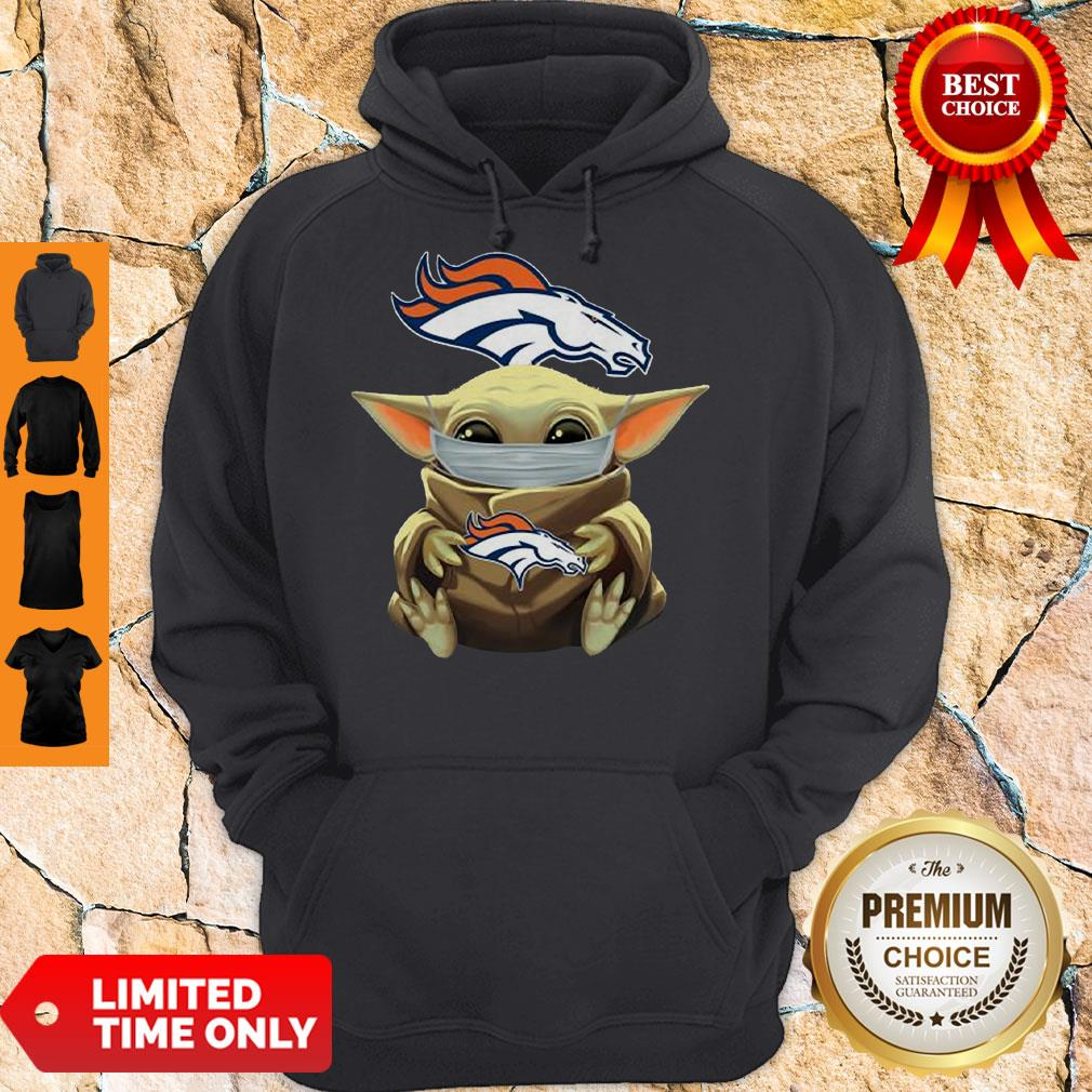 Official Baby Yoda Face Mask Denver Broncos Tee Hoodie