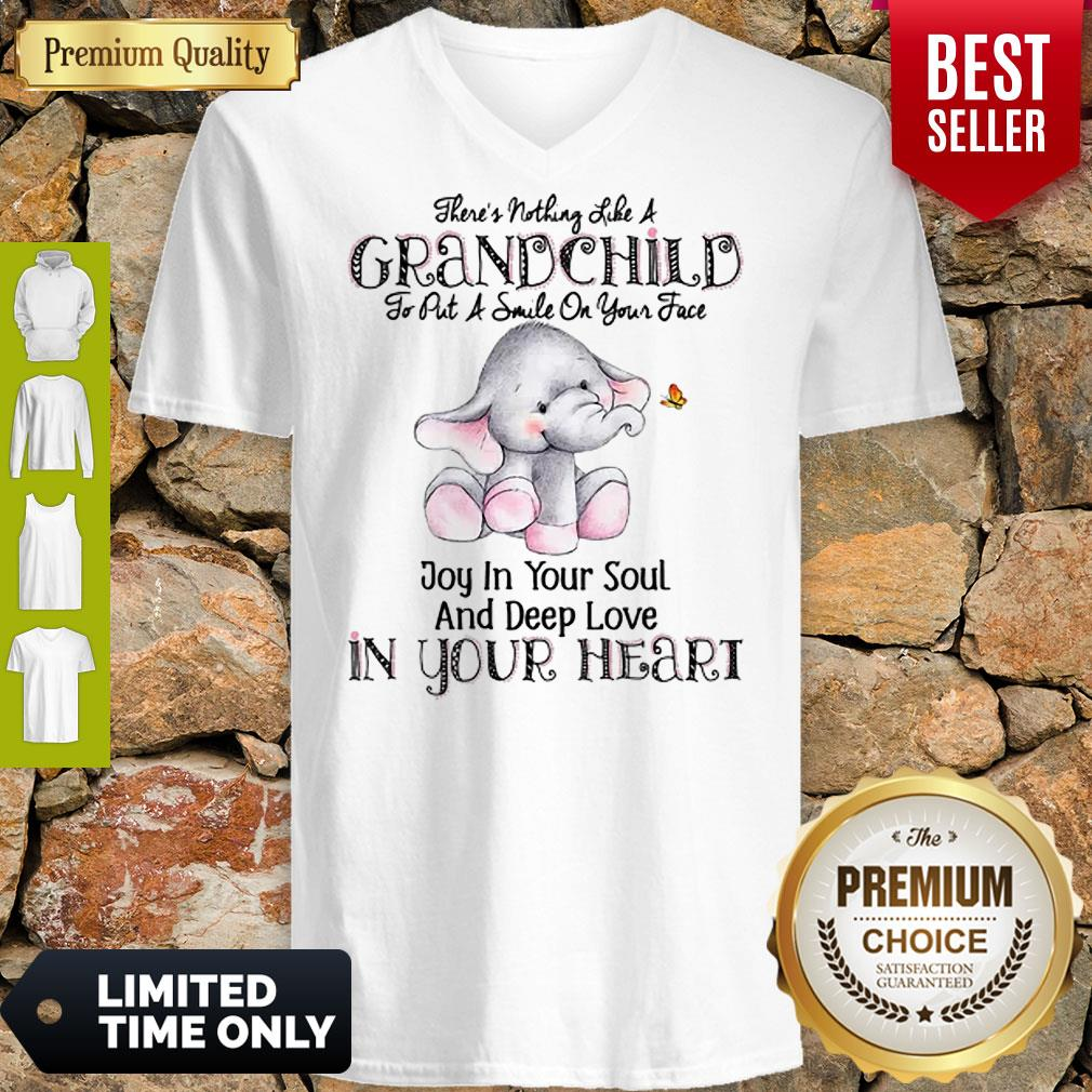 Elephant There's Nothing Like A Grandchild To Put A Smile On Your Face V-Neck
