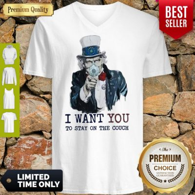 Uncle Sam Mask I Want You To Stay On The Couch V-Neck