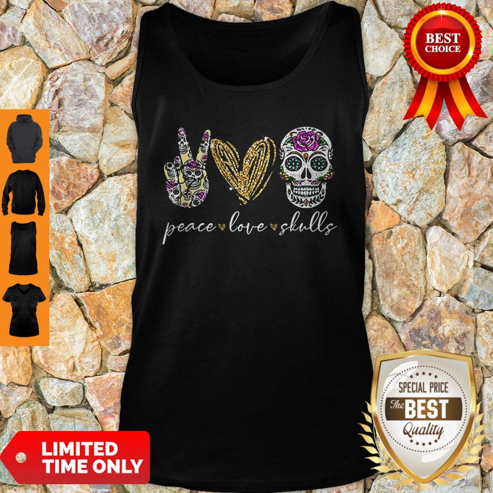 Official Peace Love And Skulls Diamond Tank Top
