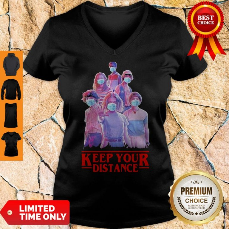Strangerthings Eleven Mike Will Max Dustin Lucas Season Keep Your Distance COVID-19 V-Neck