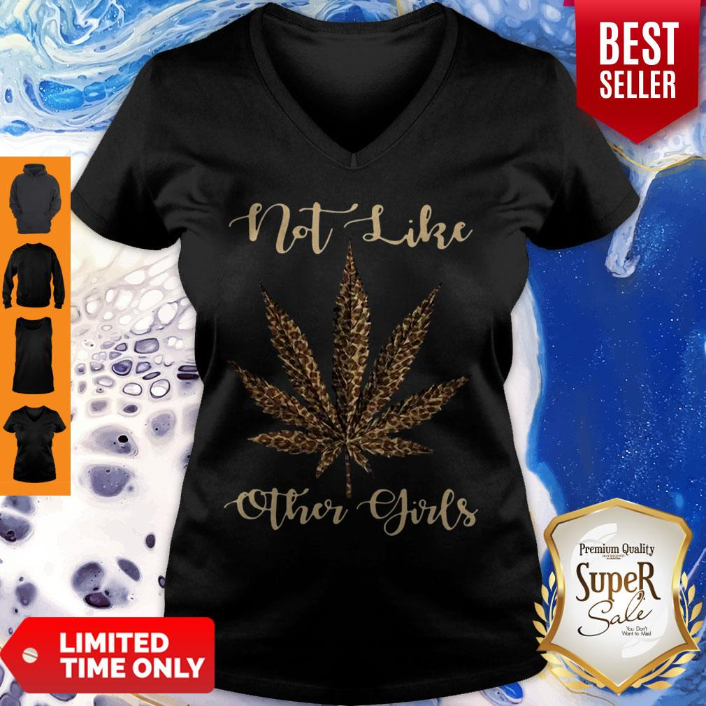 Leopard Cannabis Weed Not Like Other Girl V-Neck