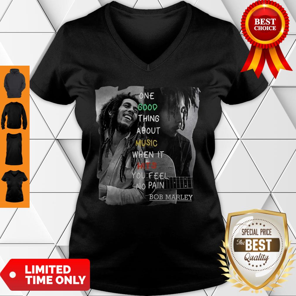 One Good Thing About Music When It Hits You Feel No Pain Bob Marley V-Neck