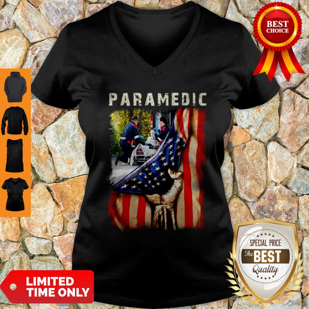 Paramedic American Flag Independence Day V-Neck