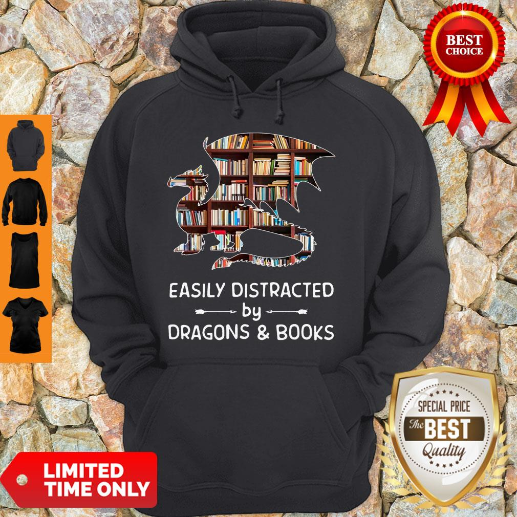 Pretty Dragon And Books Easily Distracted Hoodie