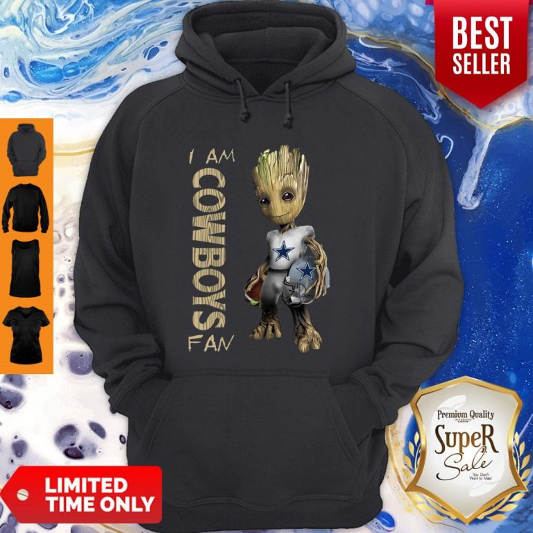 Official Baby Groot I Am Cowboys Fan Hoodie