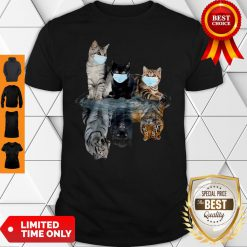 Premium Cats Face Mask Water Reflection Tigers Shirt