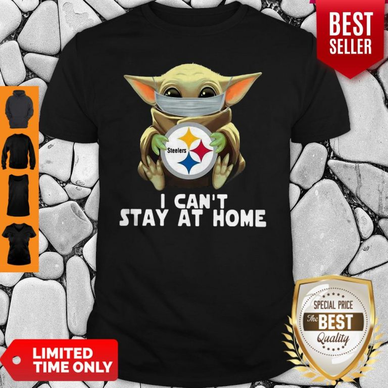 Star Wars Baby Yoda Mask Hug Pittsburgh Steelers I Can't Stay At Home Shirt