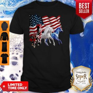 Official Three Horse American Flag Shirt