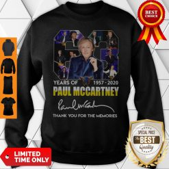 63 Years Of 1957 2020 Paul Mccartney Thank You For The Memories Signature Sweatshirt