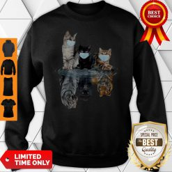 Premium Cats Face Mask Water Reflection Tigers Sweatshirt
