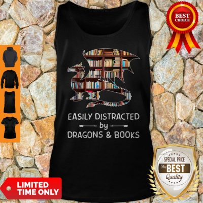 Pretty Dragon And Books Easily Distracted Tank Top