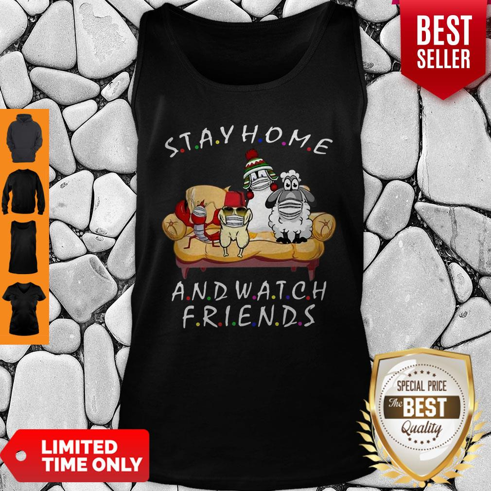 Pets Stay Home And Watch Friends Cartoon COVID-19 Tank Top