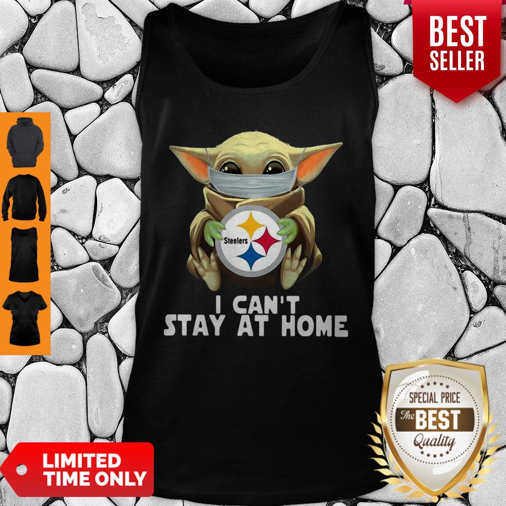 Star Wars Baby Yoda Mask Hug Pittsburgh Steelers I Can't Stay At Home Tank Top