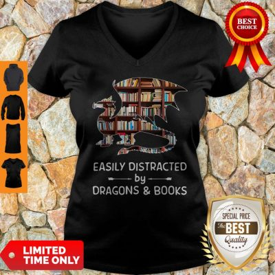 Pretty Dragon And Books Easily Distracted V-Neck