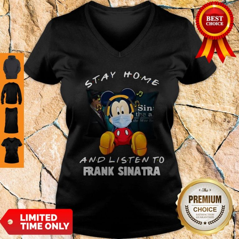 Official Mickey Mouse Stay Home And Listen To Frank Sinatra V-Neck