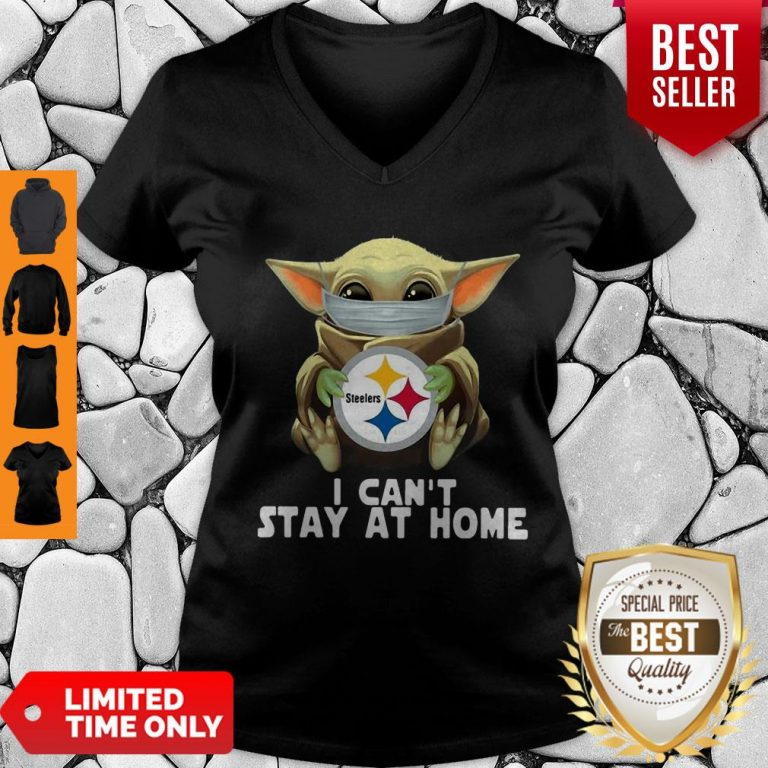 Star Wars Baby Yoda Mask Hug Pittsburgh Steelers I Can't Stay At Home V-Neck