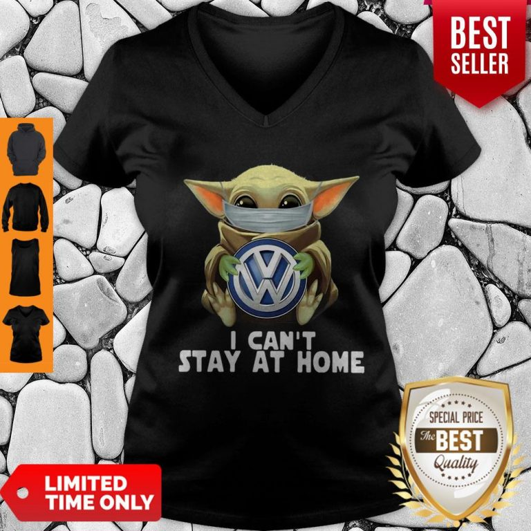 Star Wars Baby Yoda Mask Hug Volkswagen Can't Stay At Home V-Neck