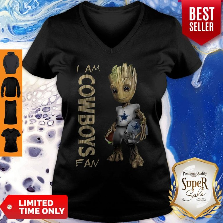 Official Baby Groot I Am Cowboys Fan V-Neck