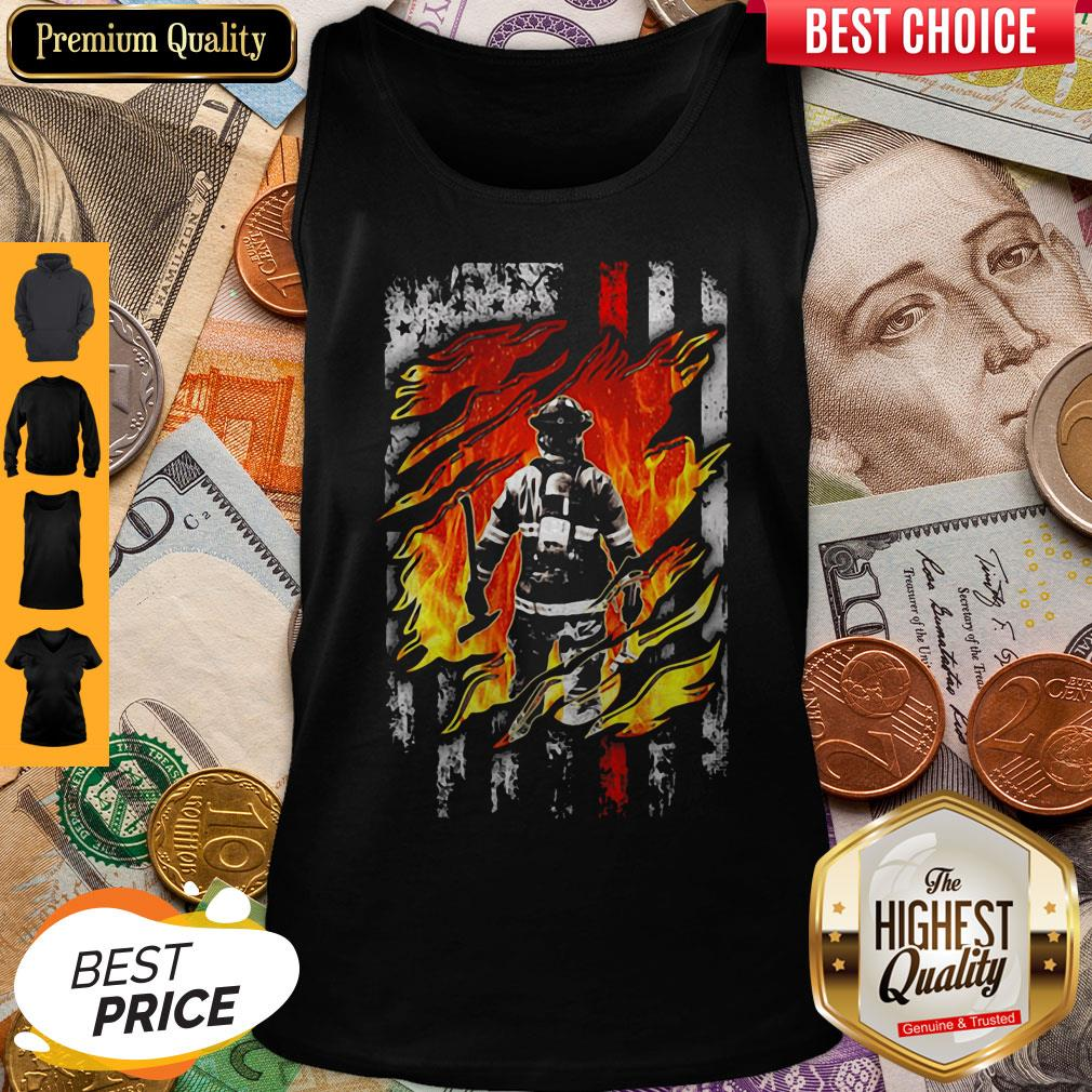 Firefighter American Flag Veteran Independence Day Tank Top