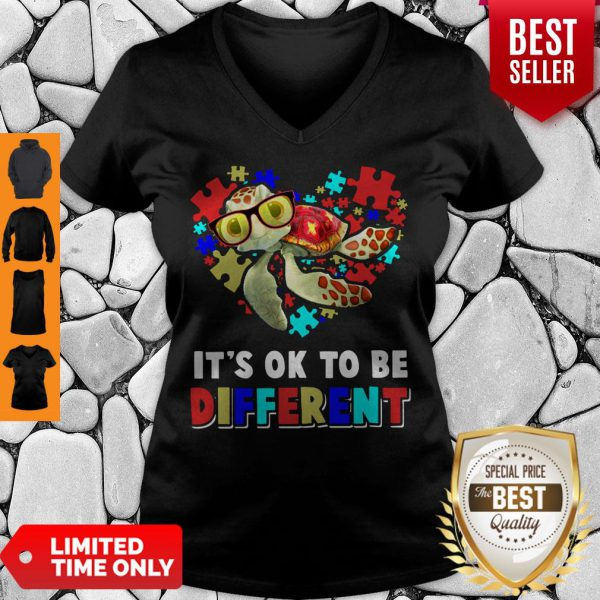 Funny Turtle Autism It's Ok To Be Different V-neck