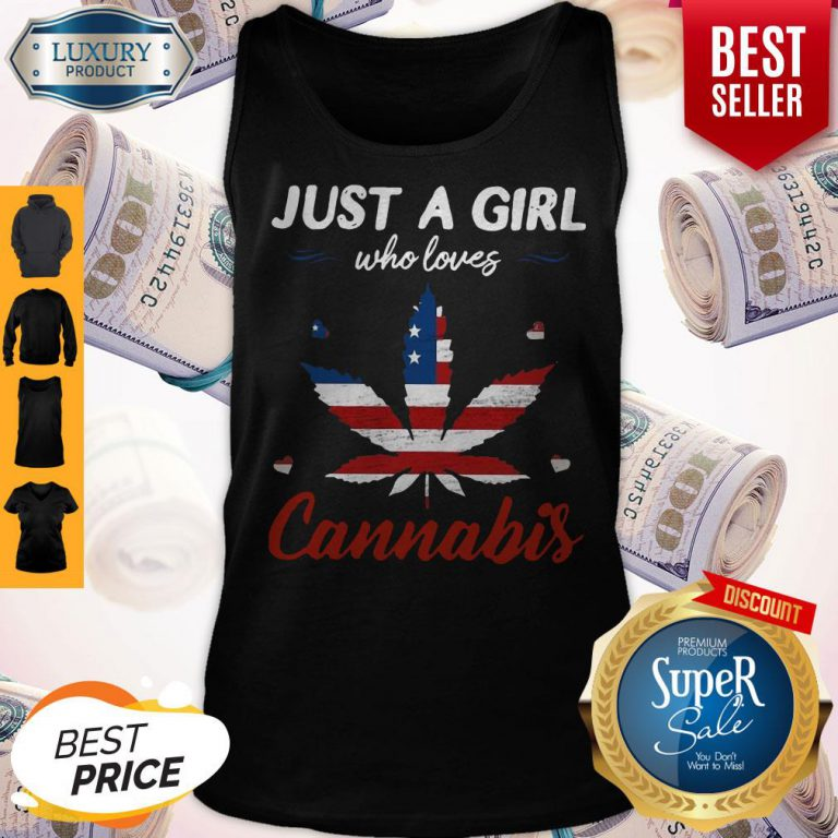 Just A Girl Who Loves Weed American Flag Cannabis Tank Top