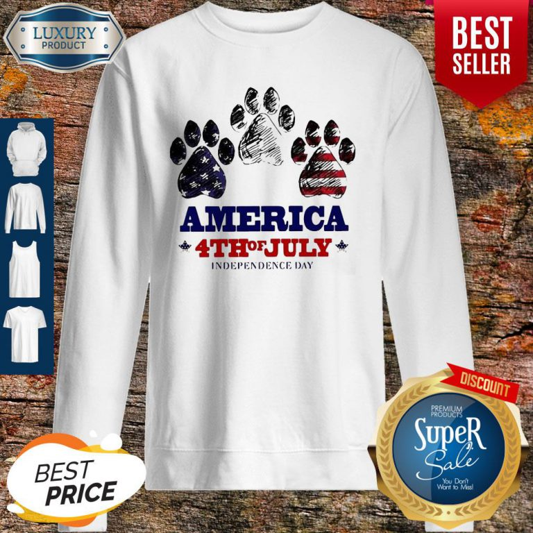 Paw Dog America 4th Of July Independence Day Sweatshirt