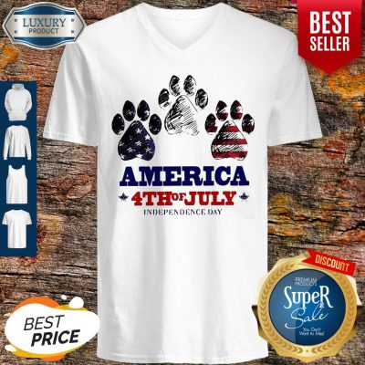 Paw Dog America 4th Of July Independence Day V-neck