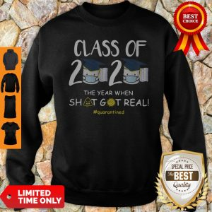 Class Of 2020 Face Mask The Year Shit Got Real Quarantined Sweatshirt