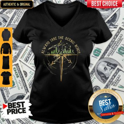 Top Bigfoot Always Take The Scenic Route V-neck