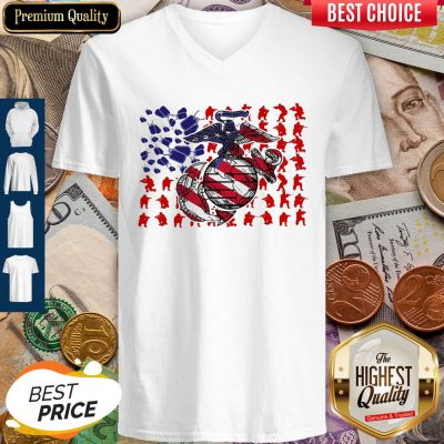 United States Marine Corps American Flag Veteran Independence Day V-neck