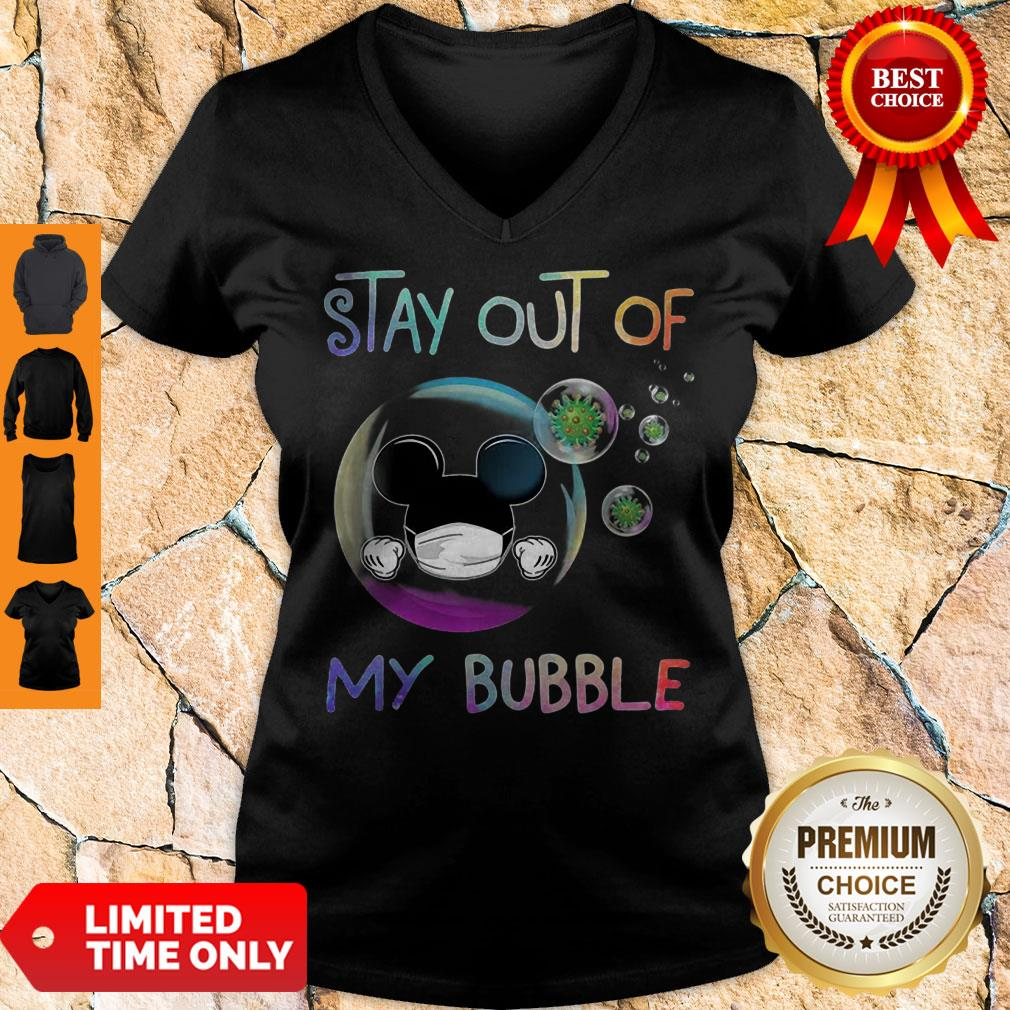 Mickey Mouse Mask Stay Out Of My Bubble Coronavirus V-neck
