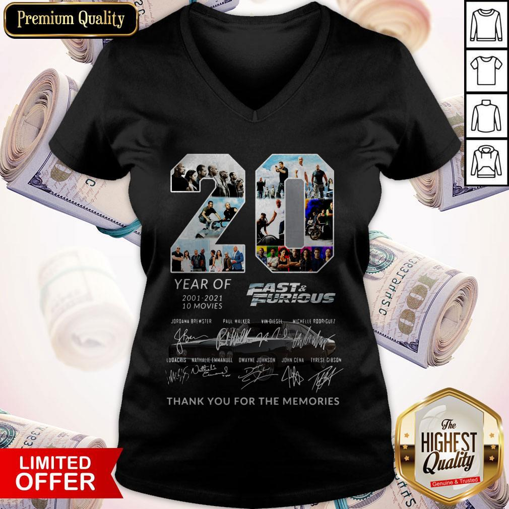 20 Year Of Fast And Furious 2001-2021 10 Movies Thank You For The Memories Signatures V-neck