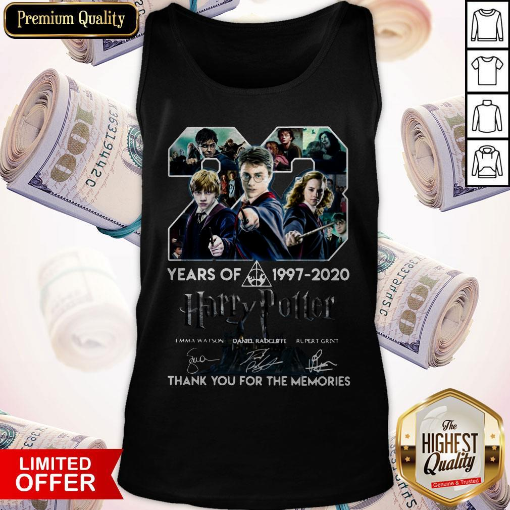 23 Year Of Harry Potter 1997-2020 Thank You For The Memories Signatures Tank Top