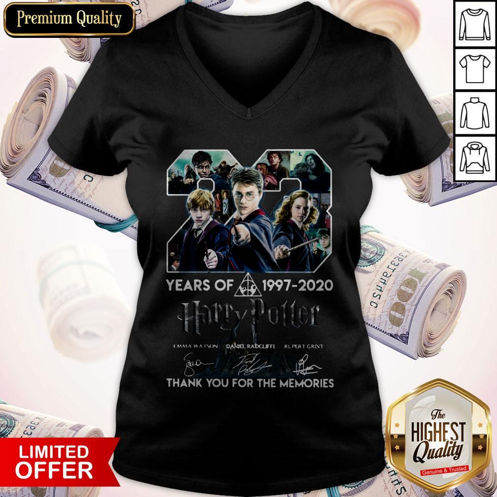 23 Year Of Harry Potter 1997-2020 Thank You For The Memories Signatures V-neck