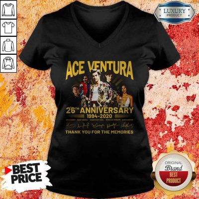 ACE Ventura 26th Anniversary 1994 2020 Thank You For The Memories Signatures V-neck