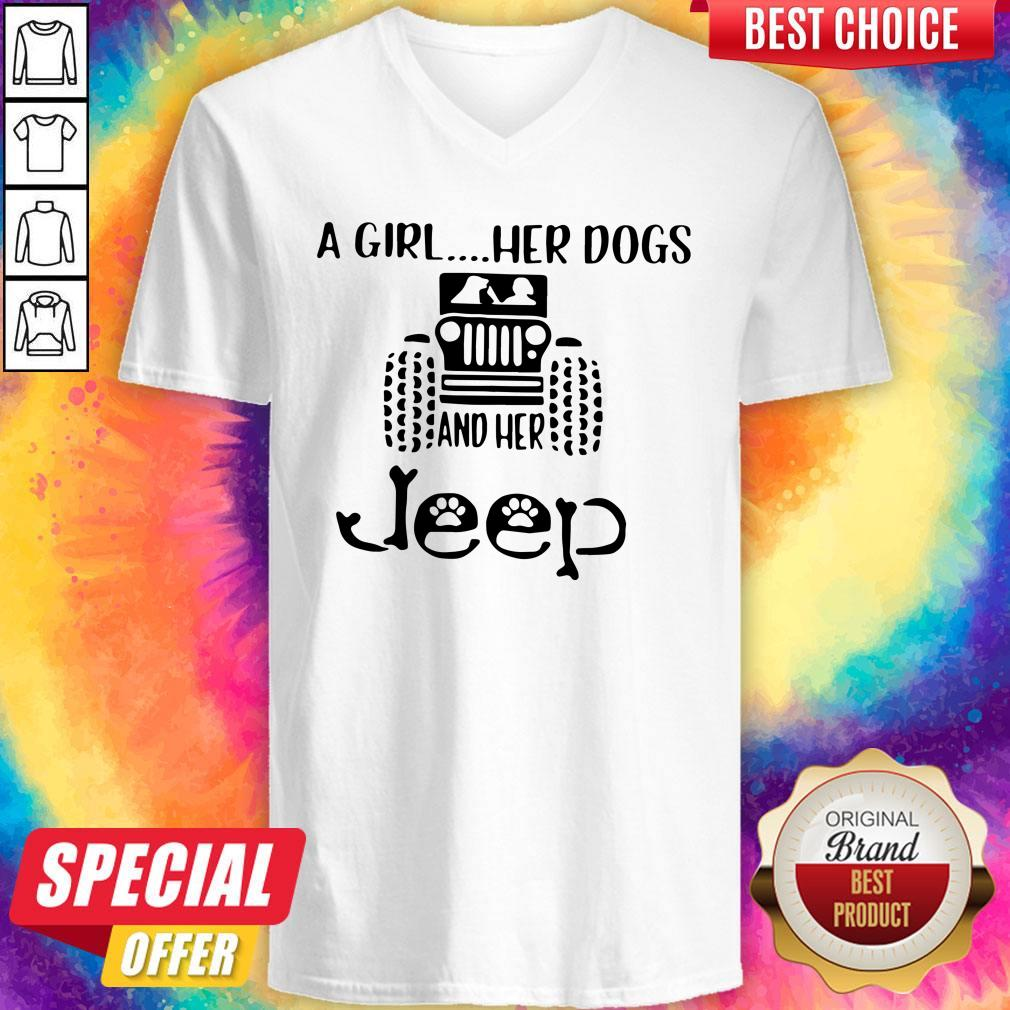Awesome A Girl Her Dogs And Her Jeep V-neck