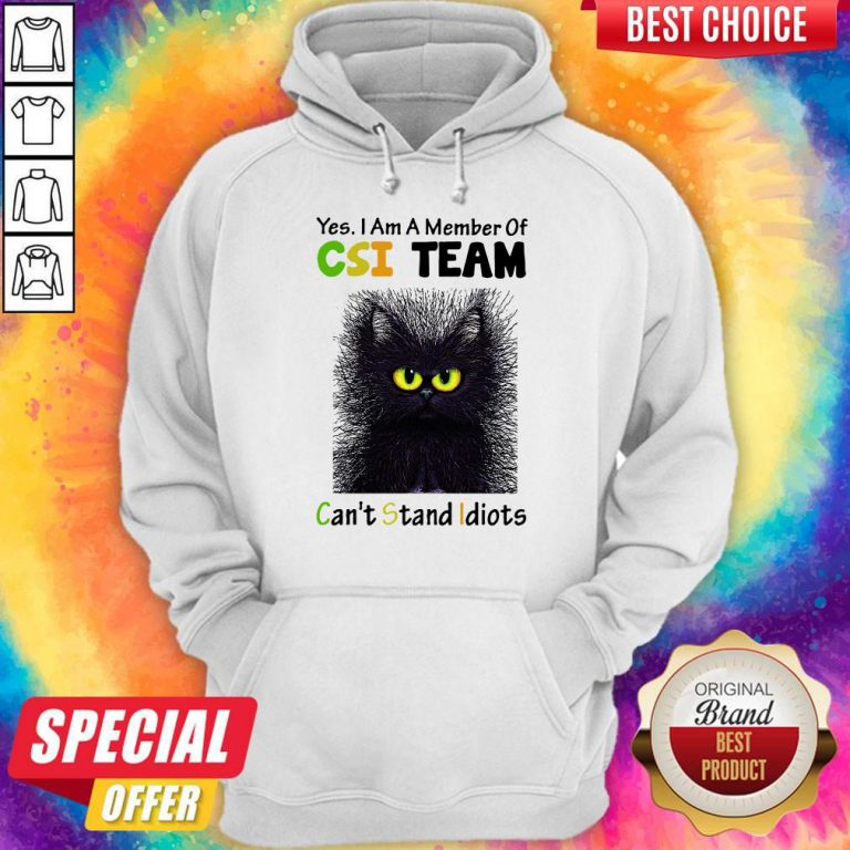 Black Cat Yes I Am A Member Of CSI Team Can't Stand Idiots Hoodie