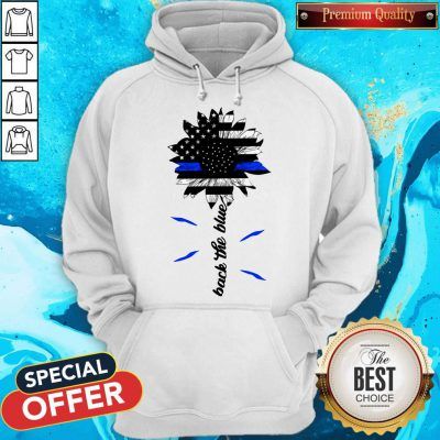Black The Blue Sunflower Support Police American Flag Hoodie