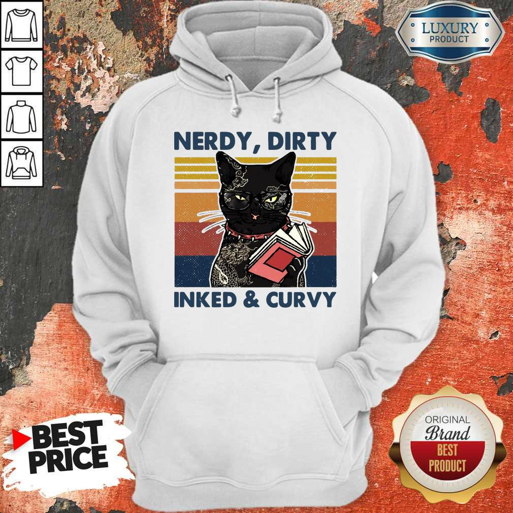 Cute Cat Tattoo Nerdy Dirty Inked And Curvy Vintage Hoodie
