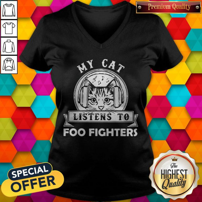 Cute My Cat Listens To Foo Figers V-neck