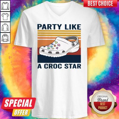 Cute Party Like A Croc Star Vintage V-neck