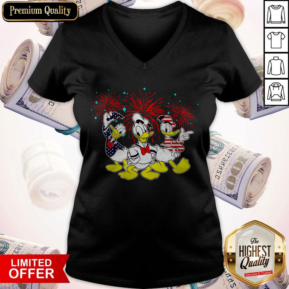 Donald Duck Happy The 4th Of July Merica American Flag Independence Day V-neck