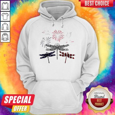 Dragonfly Firework American Flag Independence Day Hoodie