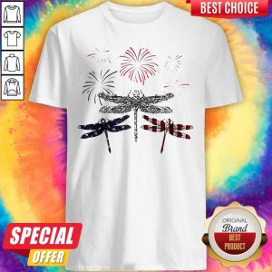 Dragonfly Firework American Flag Independence Day Shirt