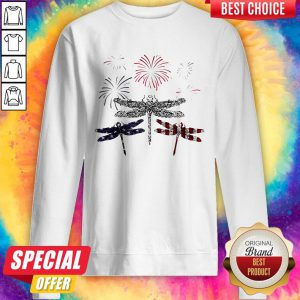 Dragonfly Firework American Flag Independence Day Sweatshirt
