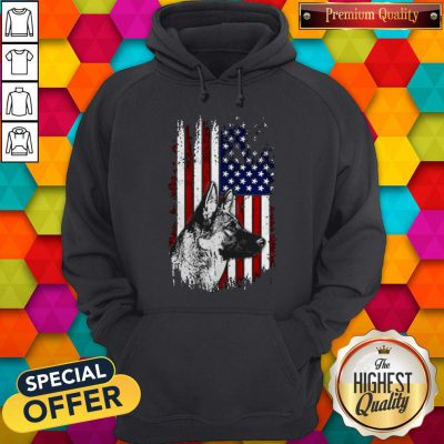 Funny German Shepherd American Flag 4th Of July Hoodie